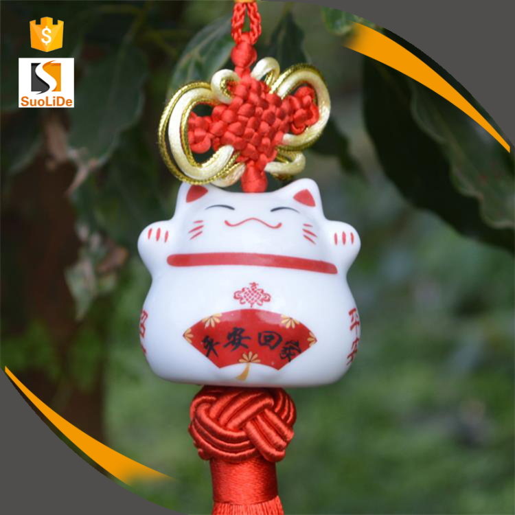 Chinese knot tassel ceramic new personalized hanging car decoration