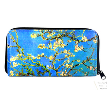 PU material blue flower retro pattern wallet for woman