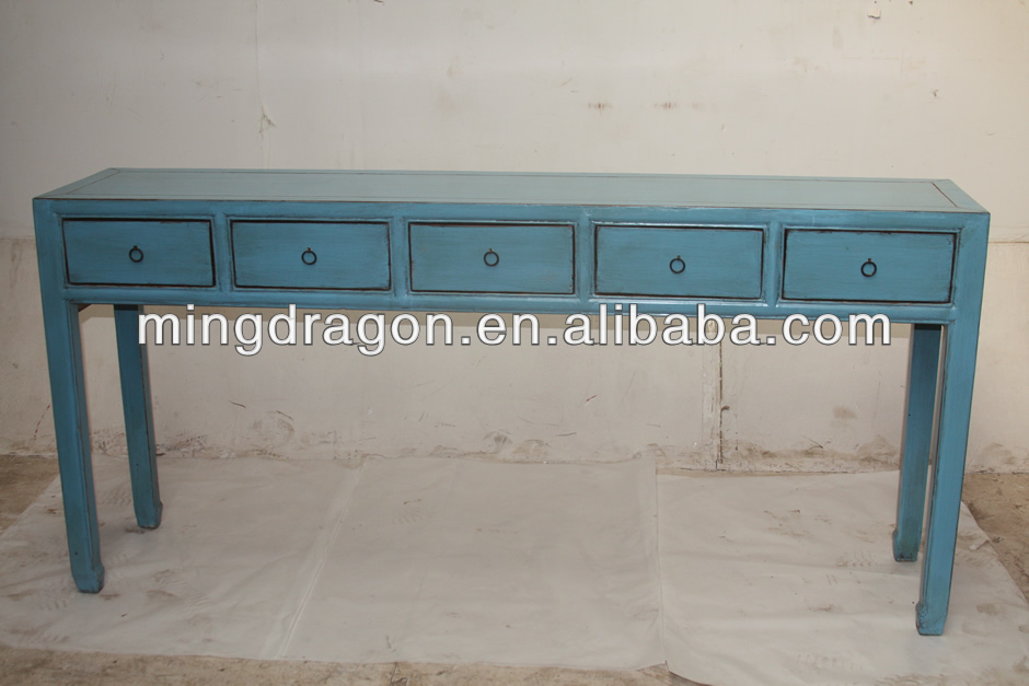 Chinese Antique Five Drawer Blue Wall Console Table   Buy Antique Wood Console  Tables,Antique Reproduction Console Table,Wall Console Table Product On ...
