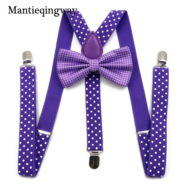 Apparel Accessories Mantieqingway Kids Suspenders Tie Bowtie Set 3 Clip-on Y-back Elastic Braces Straps Baby Girls Boy Polka Dots Suspenders Wedding Men's Accessories