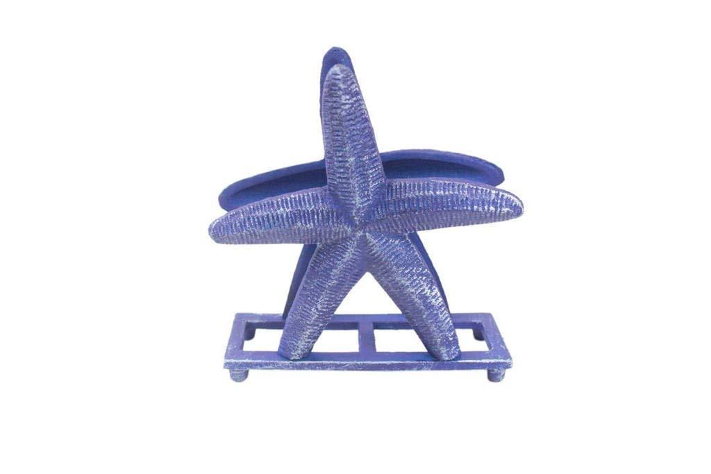 "Handcrafted Model Ships Rustic Dark Blue Cast Iron Starfish Napkin Holder 6\"" - Decorative Starfish - C"