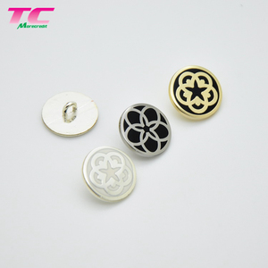 Custom Flower Logo Black Enamel Plating 15mm Metal Shank Garment Buttons Made In Buttons Manufacturer