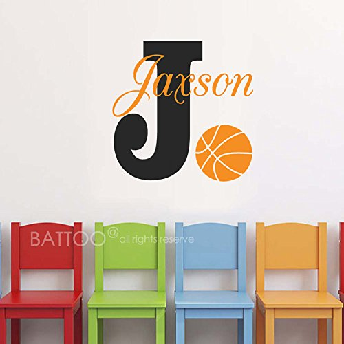 BATTOO Basketball Name Wall Decal Boy Custom Personalized Boys Name Decor Vinyl Decal Basketball Kids Teens Boys Room Sports Wall Decal Nursery