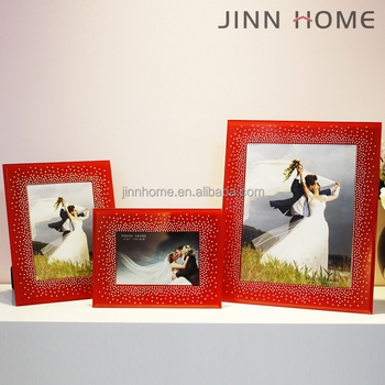 adf950613b41 Wedding Decor Personalized lovely 4x6 5x7 Glass red Bling Glitter Frame  Picture Frames Family stand Table
