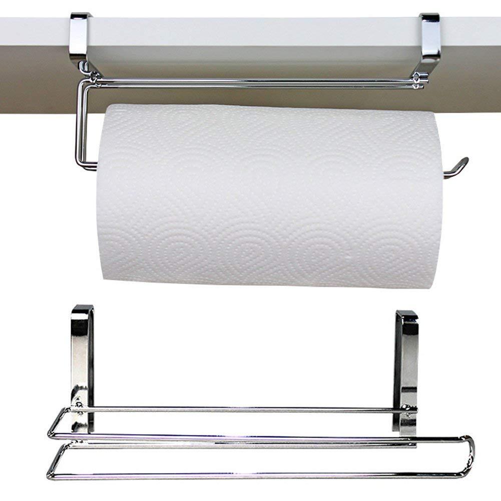 1pc Stainless Steel L shape Towel Paper Holder Hanging Bathroom Toilet Paper Holder Towel Kitchen Cabinet Door Hook Holder(266.59cm)