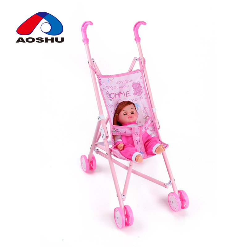 Educational kids role play pink lovely baby IC doll stroller toy with iron cart