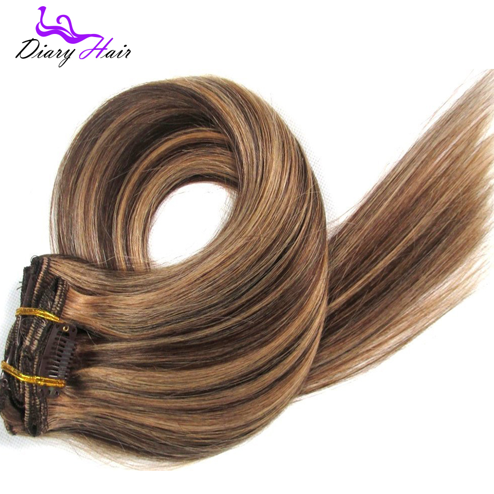 6A grade Brazilian remy Clip in Human Hair Extensions #4/27 cheap nature hair 7pcs /set 70g silky straight clips hair in stock