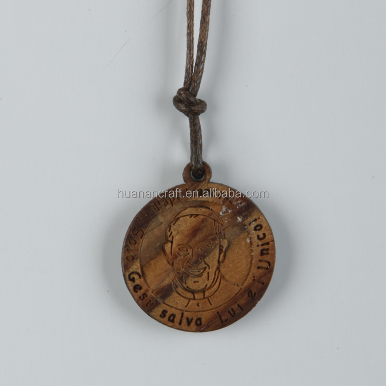 Stretch Religious olive wood rosary simple pendant design