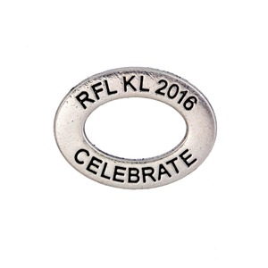 fashion elliptical ring with engraved custom message RFL FL 2016 CELEBRATE charm