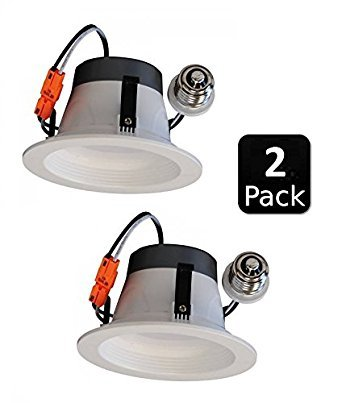 "2 Pack 4"" Inch LED Retrofit Module Recessed Downlight, 8W, E26 Base, Dimmable, ETL & Energy Star (4000 Kelvin)"