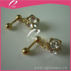 Stainless steel plated gold earrings 2012 new design