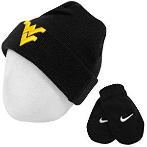 b5b939752e1 Get Quotations · Nike West Virginia Mountaineers Youth Logo Knit Cap Beanie  and Mitten Set 2 4T Black
