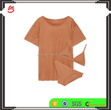 Copper Bamboo Jersey t Shirt Soft Cup Bra and Brief Sleeping Wear Set