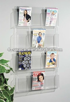 Wall Mount Acrylic Magazine Book Holder Library Book Show