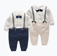 Baby boys first year dress suspenders and bowtie jumpsuit for body