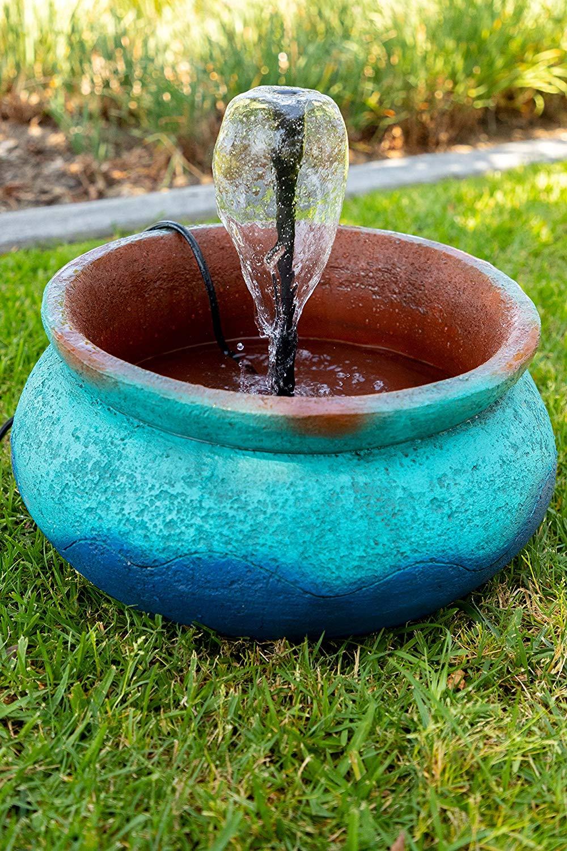 "Alpine Corporation LIZ156 Alpine Bowl Garden Fountain 9 inch Tall Floor, 19"" W x 19"" L x 9"" H, Blue"