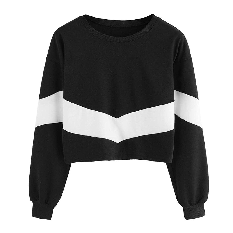 Junshion Womens Long Sleeve Patchwork Crewneck Hoodie Sweatshirt Hooded Tops Blouse