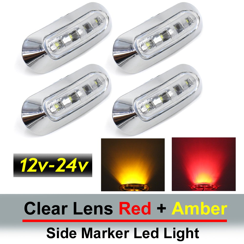 "4 pcs TMH 3.6"" submersible 4 LED Clear White lens Red & Amber Side Led Marker ( 2 + 2 ) 10-30v DC , Truck Trailer marker lights, Marker light amber, Rear side marker light, Boat Cab RV"