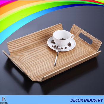 Ash Wood tray Bread plate Cup holder bending wood with handle : plate with cup holder - pezcame.com