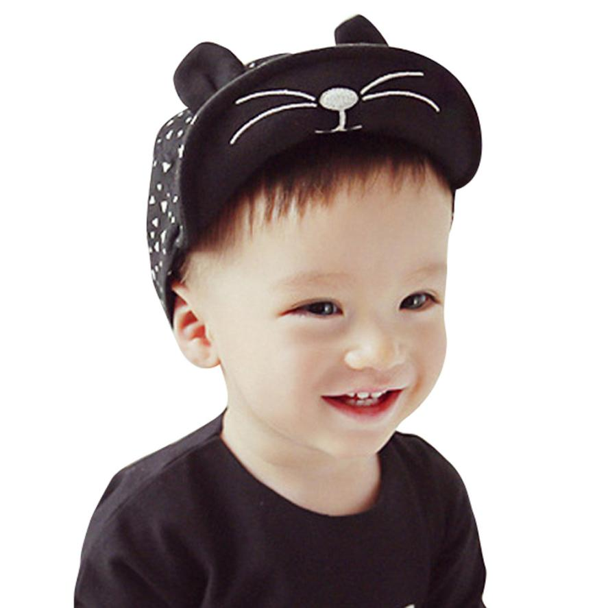 Summer 2016 Kids Snapback Caps Baby Kitten Baseball Cap Kids Cotton Blended Peaked Sun Hat For