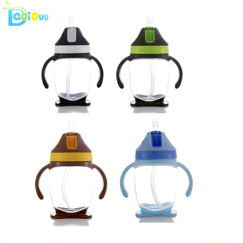 300ML Drinking Straw Cute Baby Water Bottle PP Baby Feeding Bottle For Milk