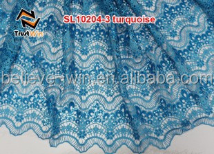 Wholesale Sequin Tablecloths African Fabrics Cord Lace Of SL10204 Tblue
