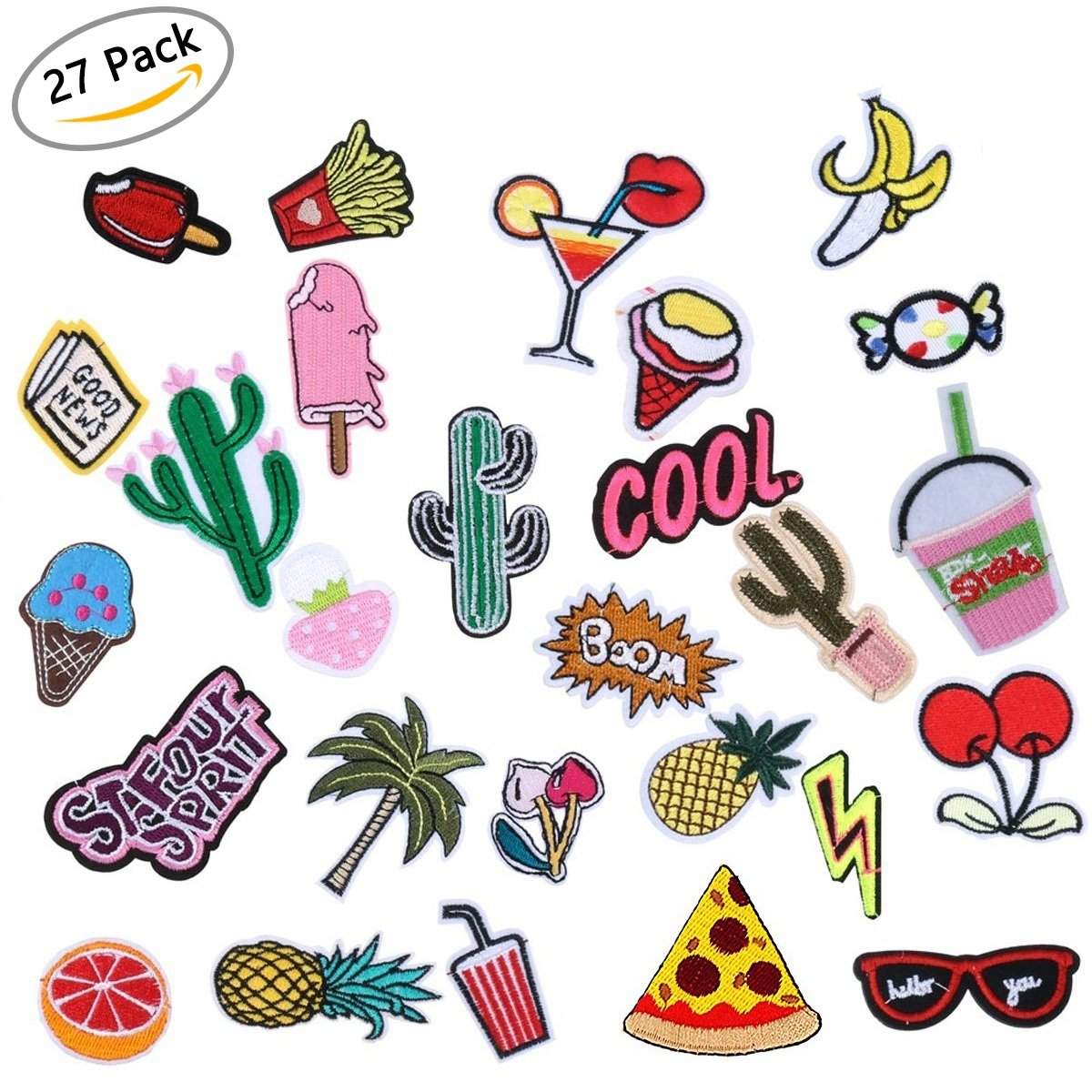 DIY Decoration Iron On Patches- Assorted Size Iron Embroidery Motif Applique Glitter Sequin Decoration Patches For Jeans Jacket, DIY Clothing, Handbag, Canvas Shoes,Caps(27pcs)