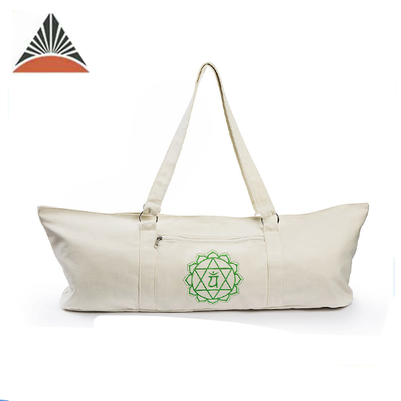 Eco Sling Tote Canvas Cotton Yoga Mat Bag With Two Zippered Pockets