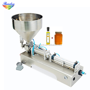 High viscosity bottle liquid piston filler with hopper