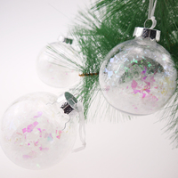 80mm Plastic Clear Ball with Snowflakes Christmas ornament tree decorations