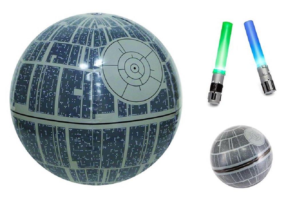 SwimWays Star Wars Death Star Light-Up Beach Ball, Hop Ball, and Light Saber Dive Sticks Summer Fun Bundle