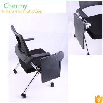 Hot sale modern movable folded writing tablet office training chairs/study chair with water holder