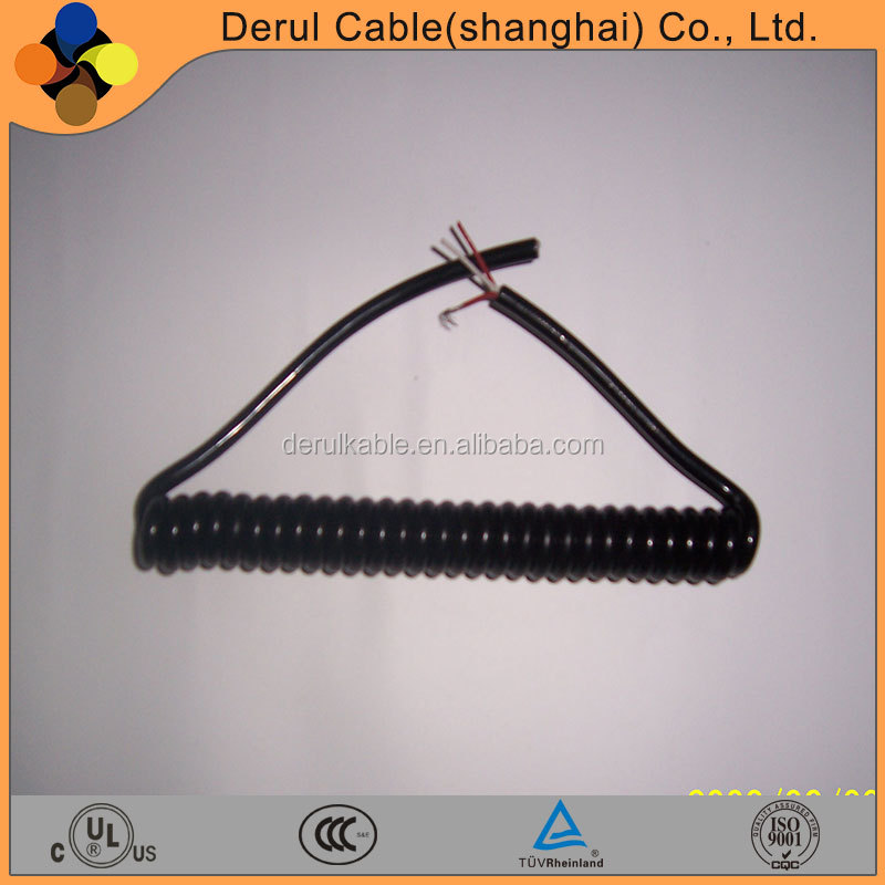 CE listed flexible PU material spring wire coiled cable
