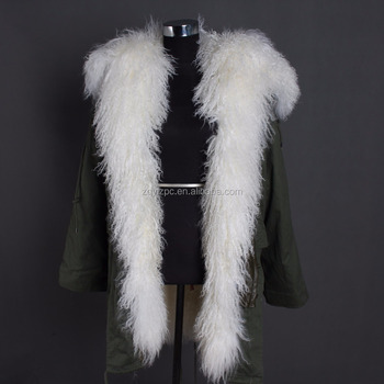 New Design Luxury Natural Fur coat With Big Sheep Fur Hood Trimming Real Fur Parka
