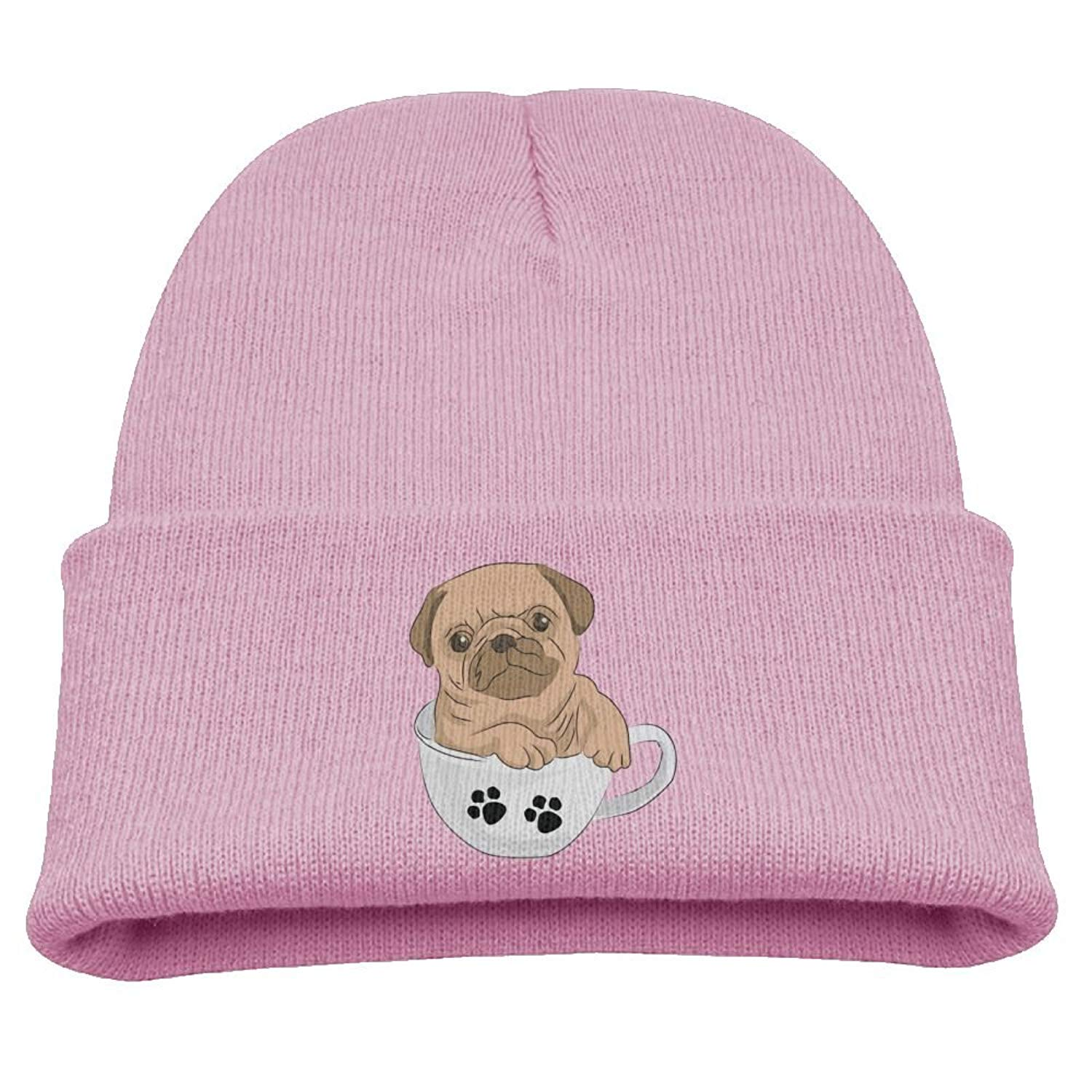 Aiw Wfdnn Kids Knit Cap Cute Dog Pug Warm Winter Hat for Boys/Girls