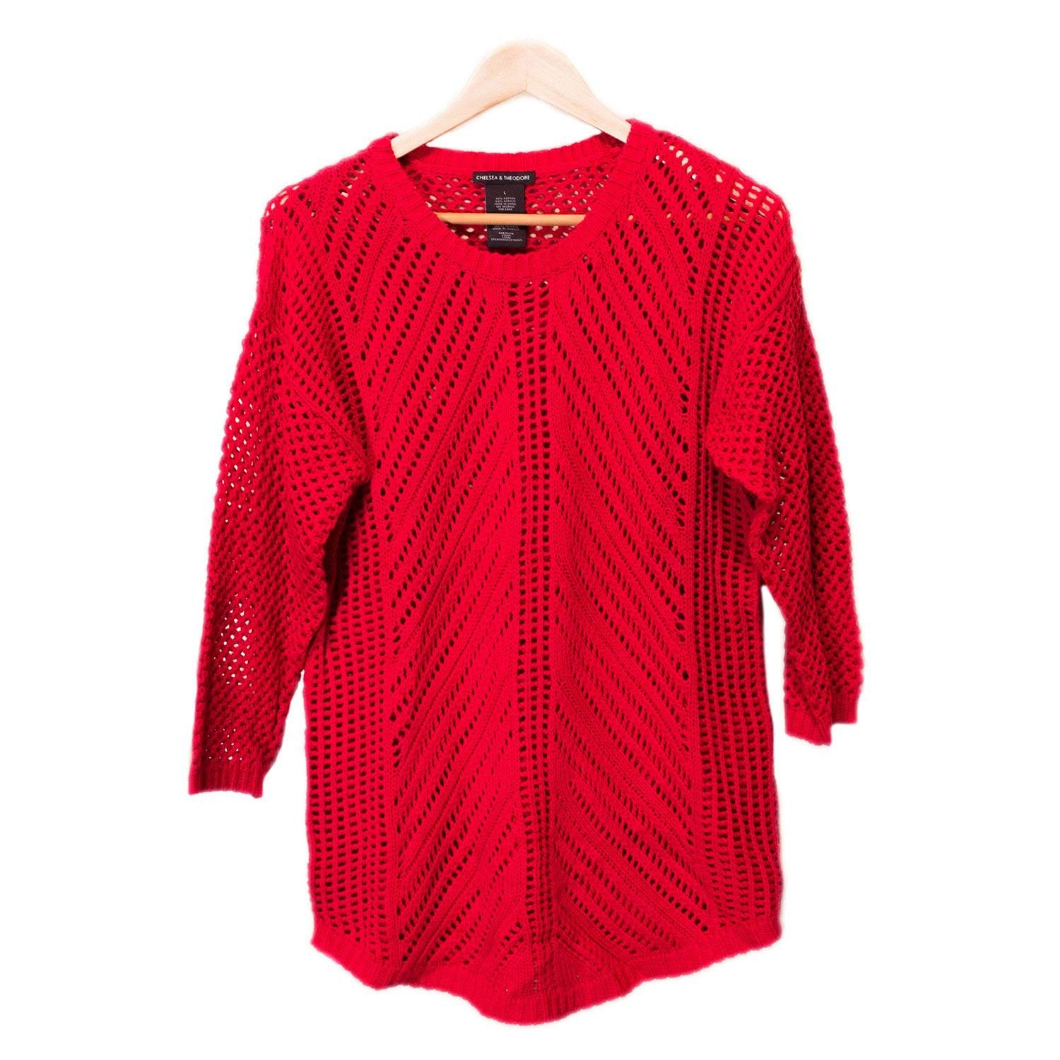 53776638a0ef Get Quotations · Chelsea   Theodore Womens 3 4 Sleeve Crochet Sweater