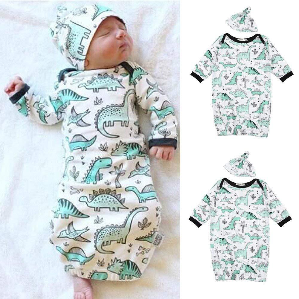 Jshuang Cartoon Baby Cartoon Dinosaur Print Sleeping Bag Nightgown + Hat Two-Piece,Baby 0-6 Months (White)