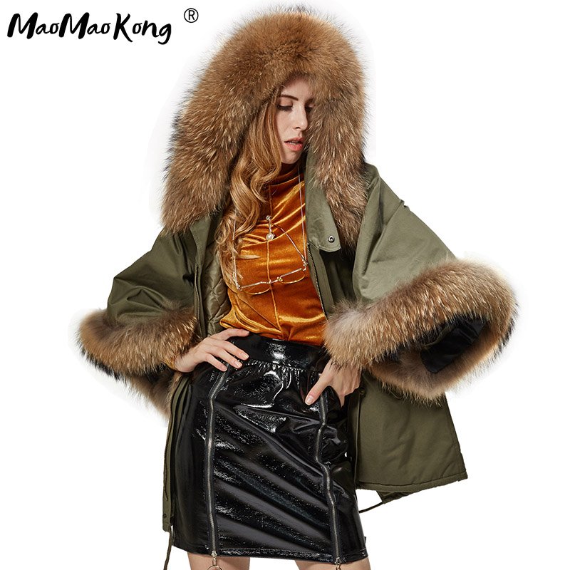 Autumn and winter new raccoon hair leader green casual coat trumpet sleeves cape fur jacket фото