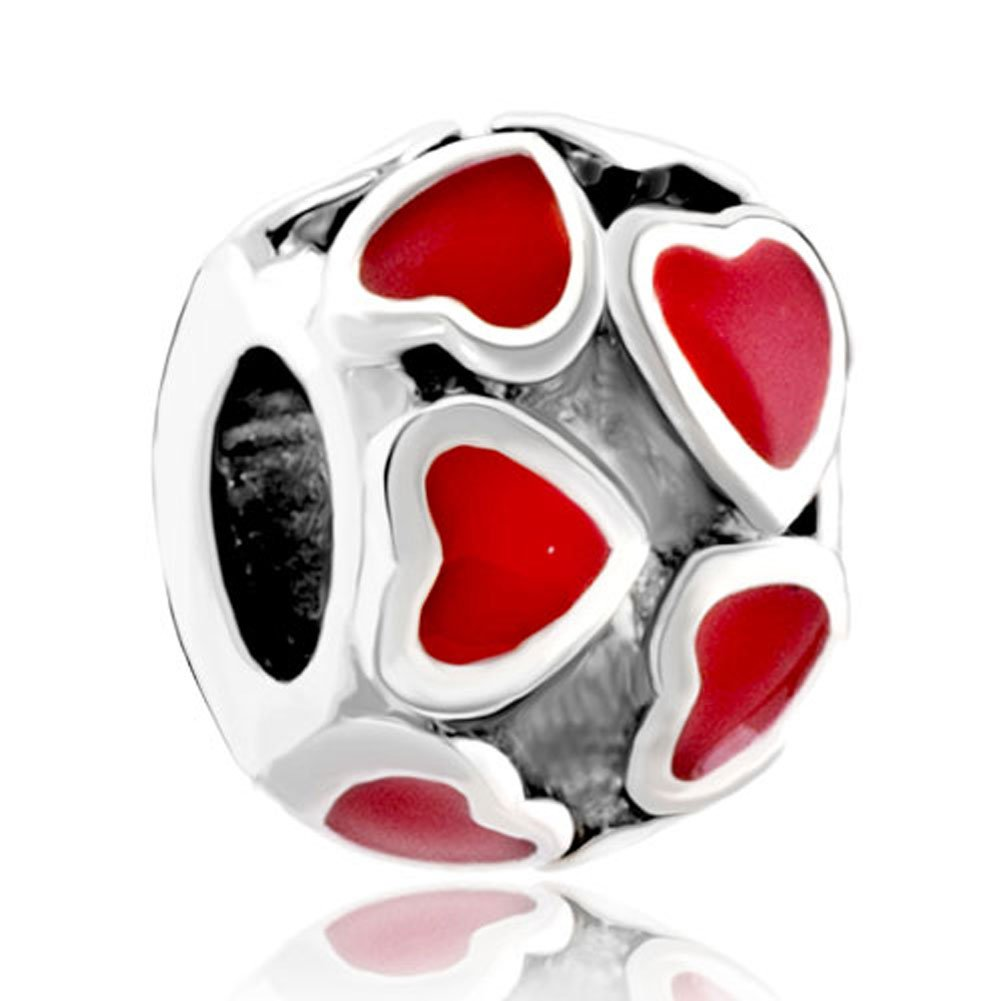 Pugster Silver Plated Red Heart Enamel Bead Fit Pandora Charms