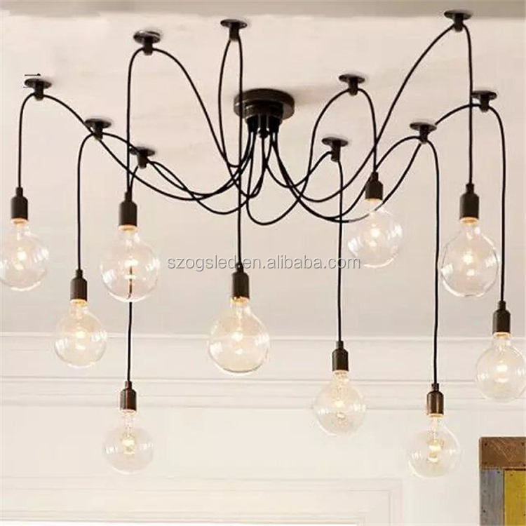 China Led Bulb Pendant Light Vintage with Iron Curved Arms Fairy Chandelier for House Lobby Shopping Mall Home Decor