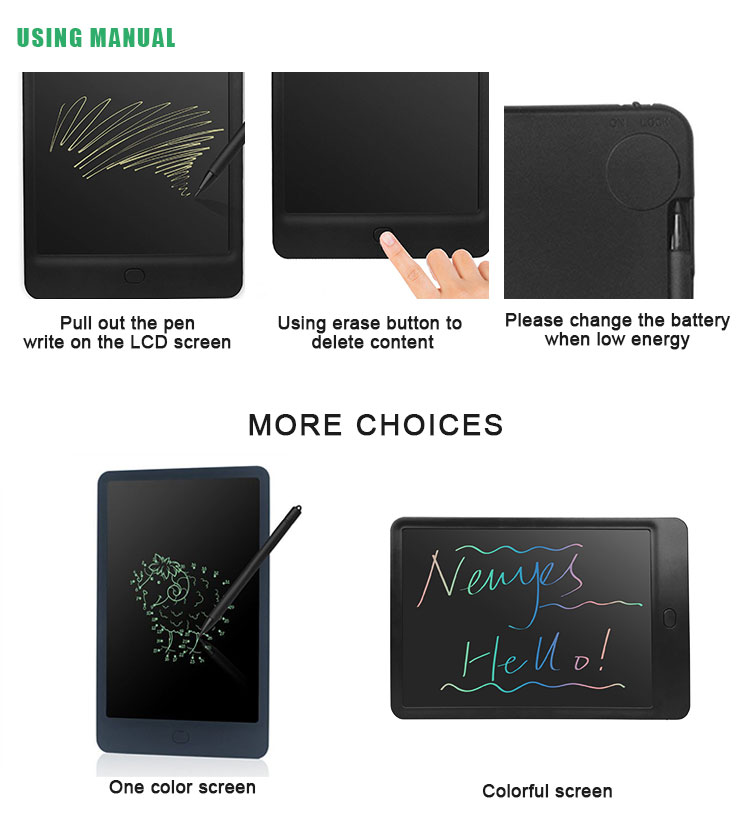 "Professional 10"" Magnetic Fridge Notepad With Pen Digital Lcd Writing Drawing Tablet"