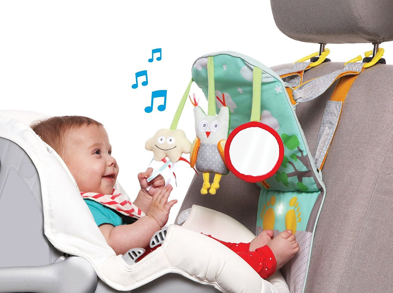 Taf Toys Play & Kick Car Seat Toy | Baby's Activity & Entertaining Center, For Easier Drive And Easier Parenting| Keep Baby Calm| Lights & Musical, Baby Safe Mirror, Detachable Toys