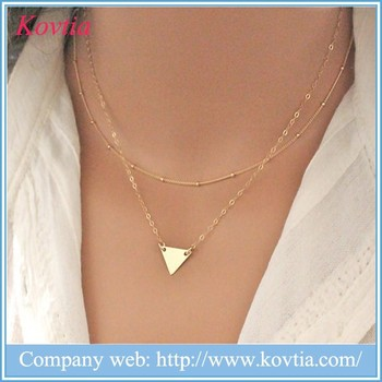 Gold Triangle Necklace Designer Jewelry Replica Gold Necklace