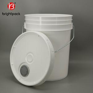 white 5 gallon transparent plastic paint bucket, food grade plastic bucket