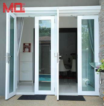 Aluminium Double Glazing Blue Glass White Frame Indian Exterior Main
