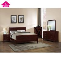 Philippe Style Wood Queen Bed Room Furniture Queen Bedroom Set Dresser Mirror Chest Nightstand