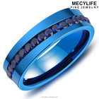 MECYLIFE Stainless Steel Blue Ring Small Stone Finger Ring