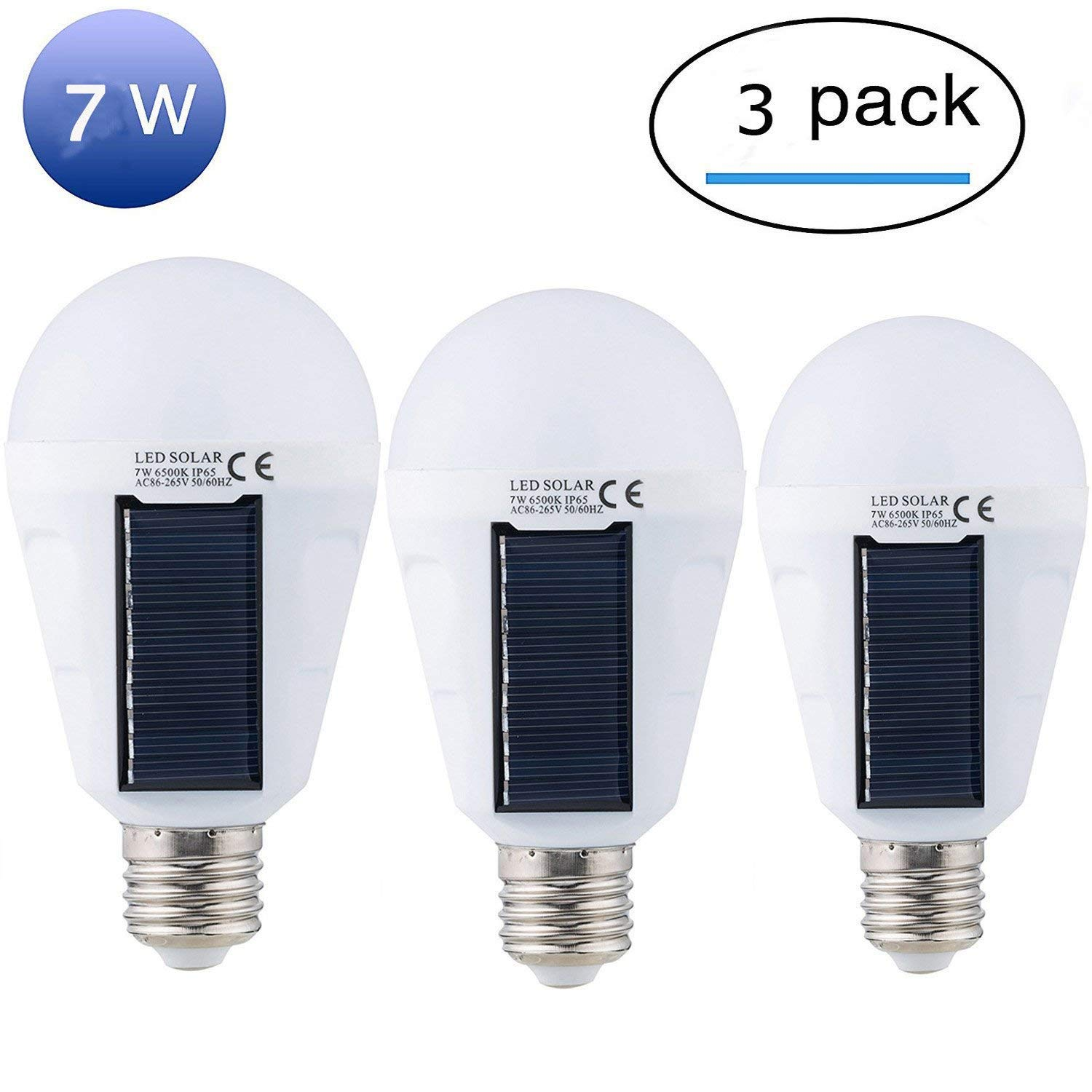 Mordely Solar Panel Light Bulb LED Powered Light,Portable Waterproof Emergency Light Bulb,7W 1200mAH with White Light for Indoor and Outdoor,Garden,Hiking,Camping,White