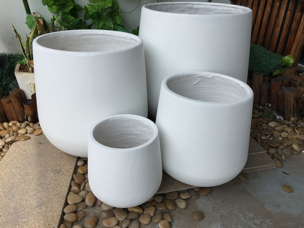 Fiberstone Large White Flower Pots For Second Painting Product On Alibaba