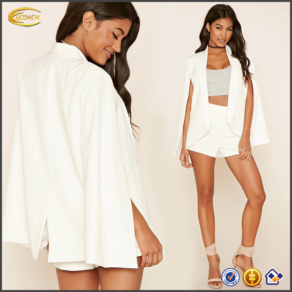 Ecoach New fashion lightly padded shoulder white tuxedo 2016 formal wear long cape sleeves cape blazer with back vent for office